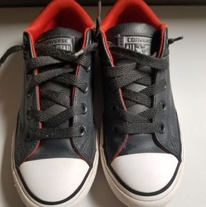 Kids Black Leather Converse